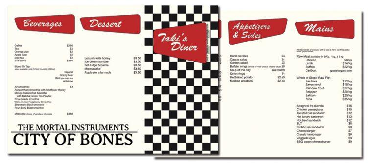 Taki's Diner Menu from City of Bones