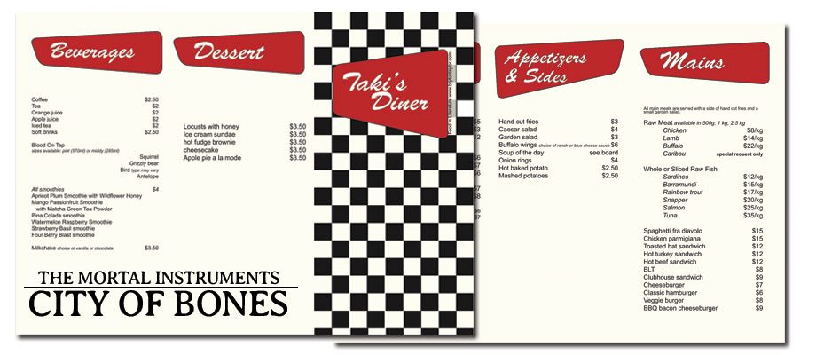 Taki's Diner Menu from City of Bones
