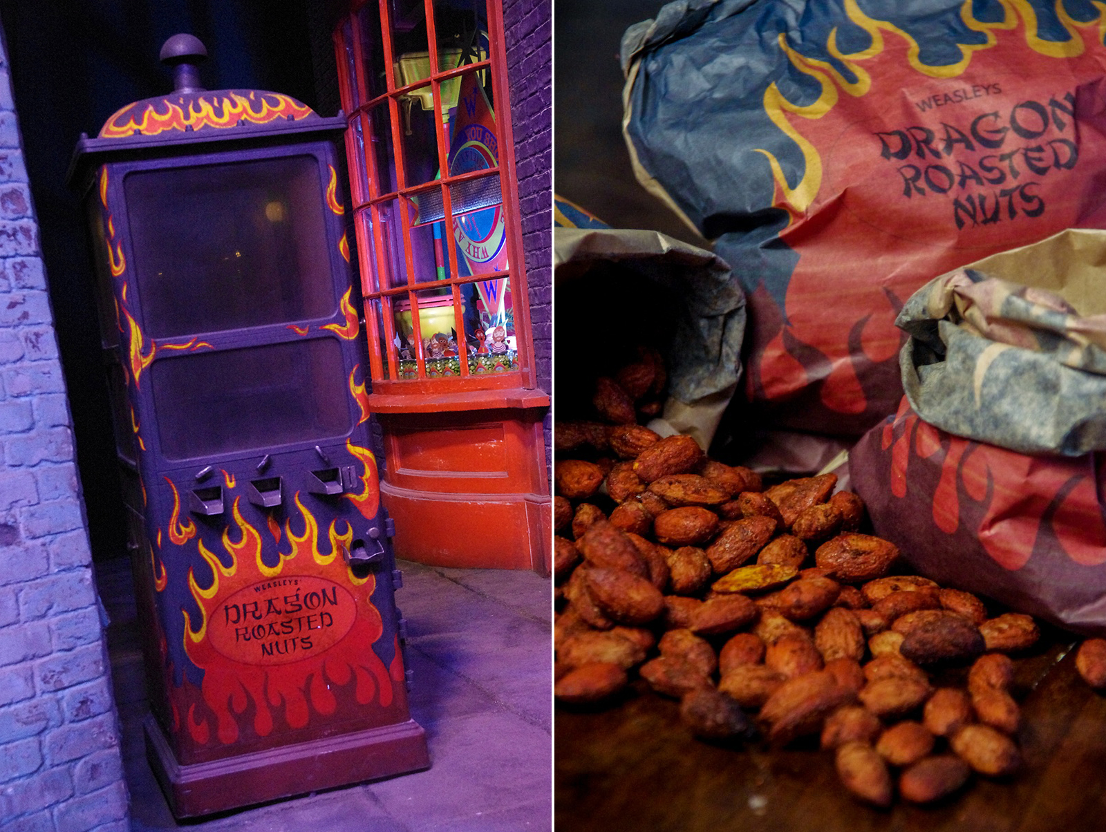 Dragon Roasted Nuts vending machine in Diagon Alley outside Weasleys Wizard Wheezes
