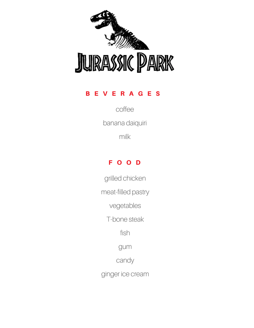 Food in Jurassic Park | Michael Crichton (Food Reference List)
