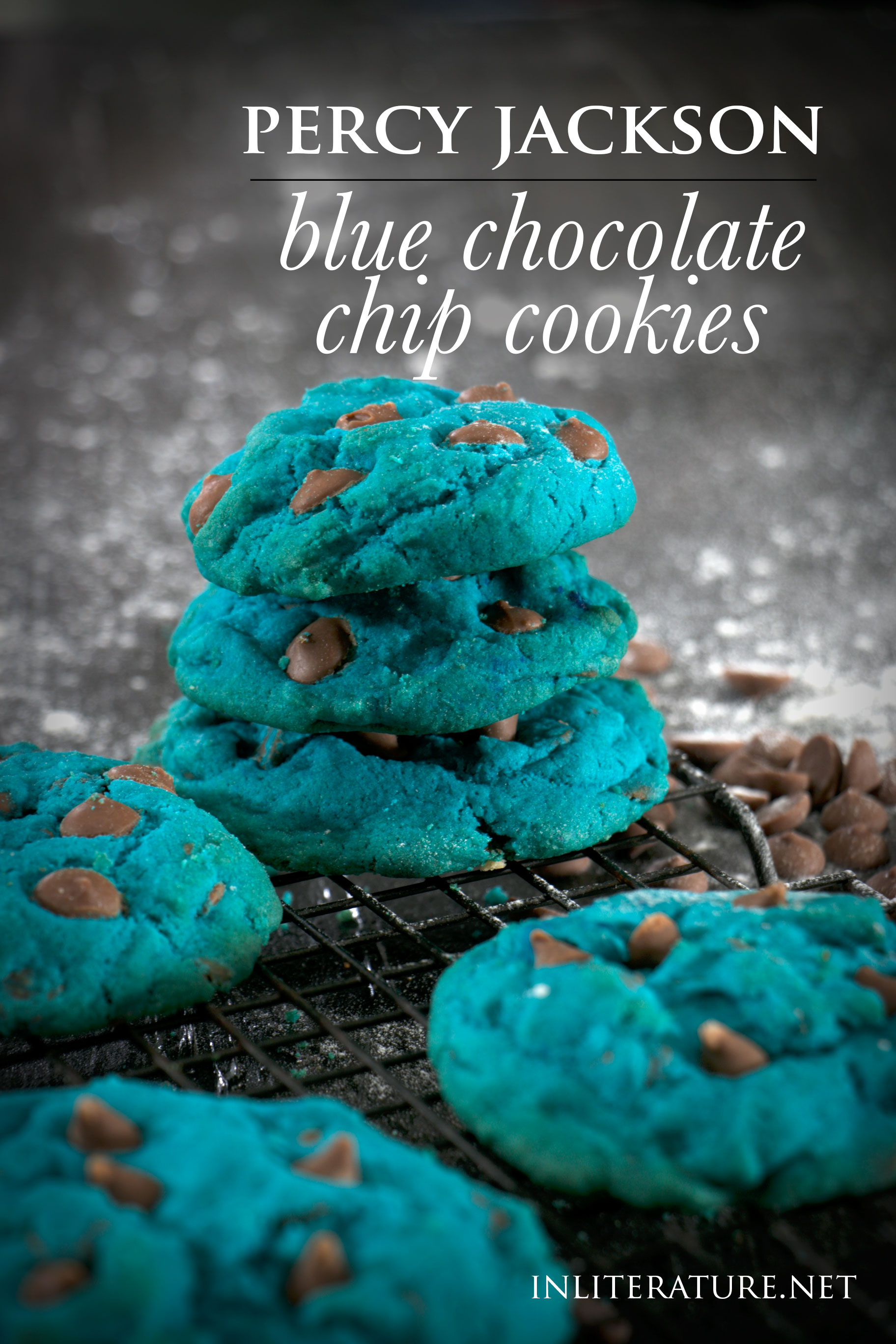 While it may not be in liquid form, these delicious blue chocolate chip cookies are what I imagine Percy Jackson's elixir to taste like. Super quick and easy to make as well!
