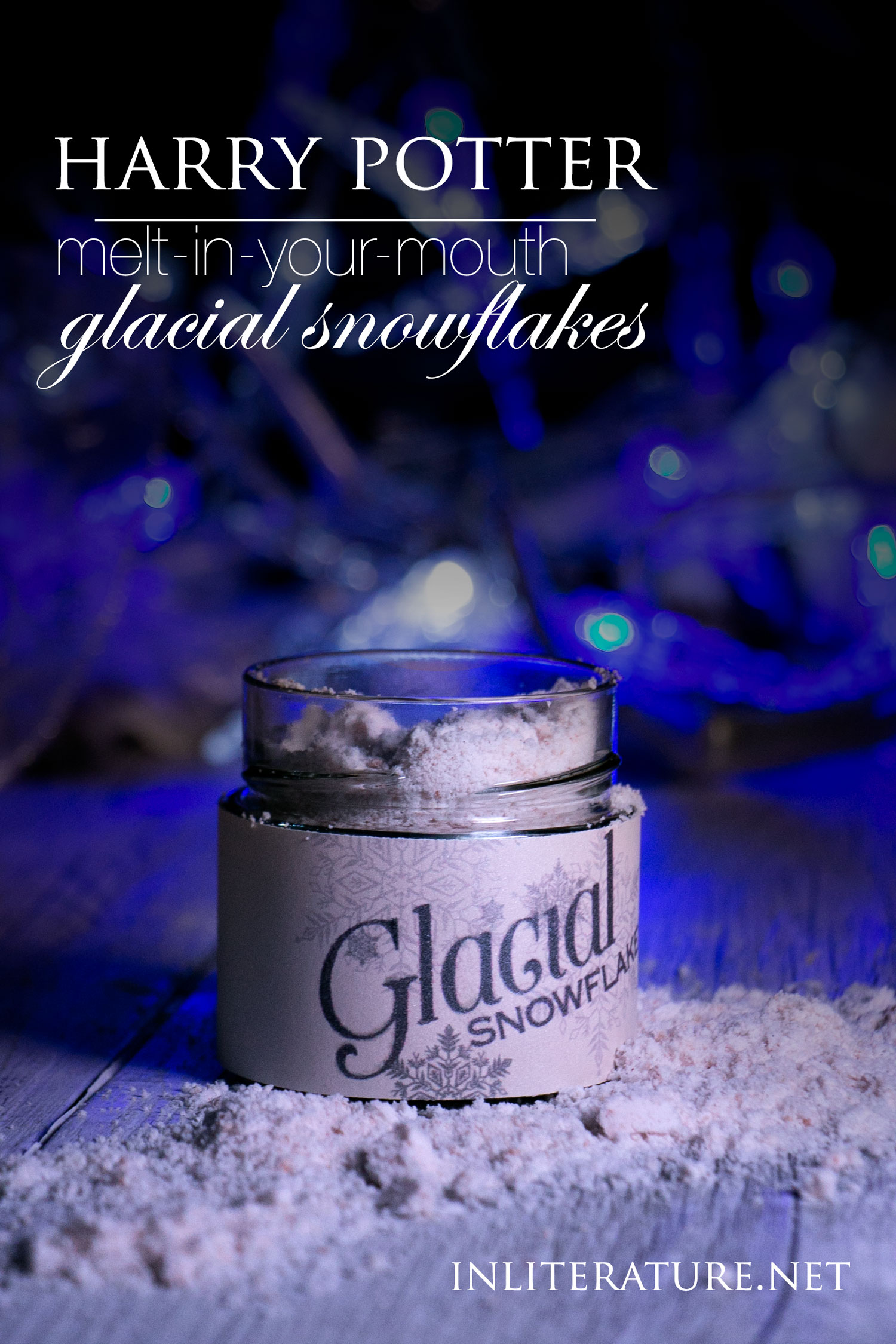 Jar of Honeydukes glacial snowflakes in powdered snow surrounded by fairy lights