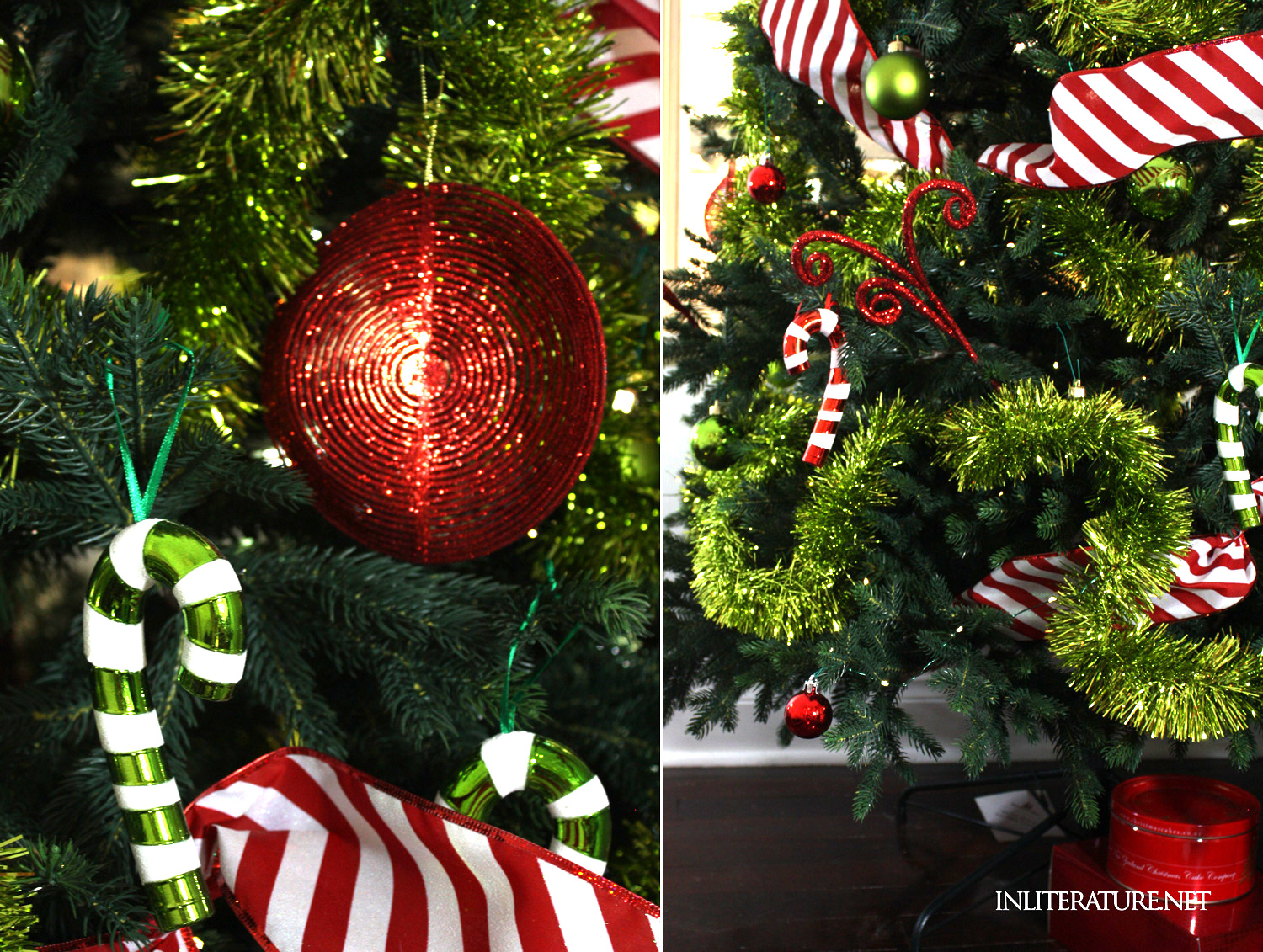 Decorating your Christmas tree Who-ville style-- keep it simple by choosing a colour scheme and keeping the variety of ornaments to a minimum.