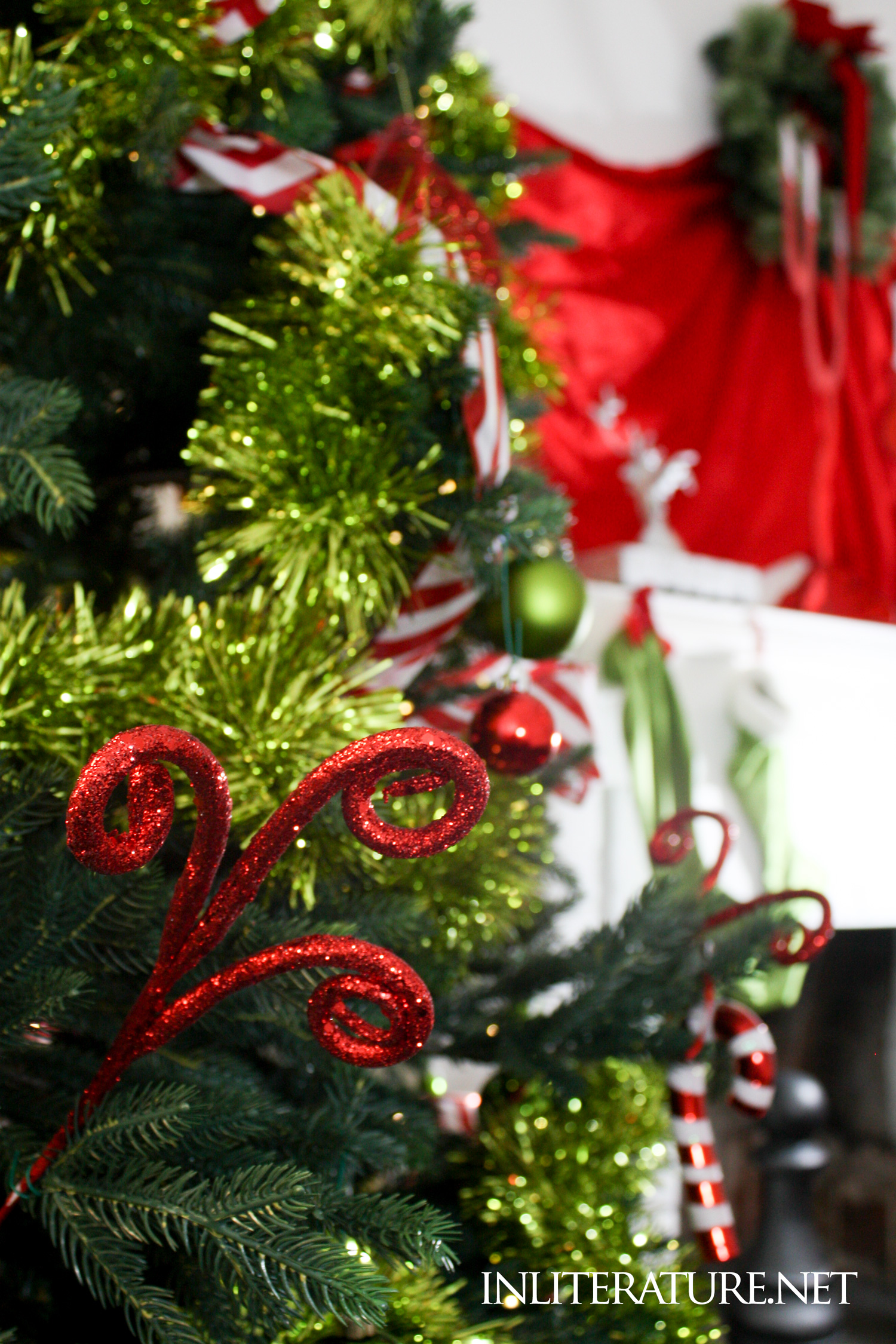 Decorating your Christmas tree Who-ville style. Use curly tree picks to create a topsy turvy feel.
